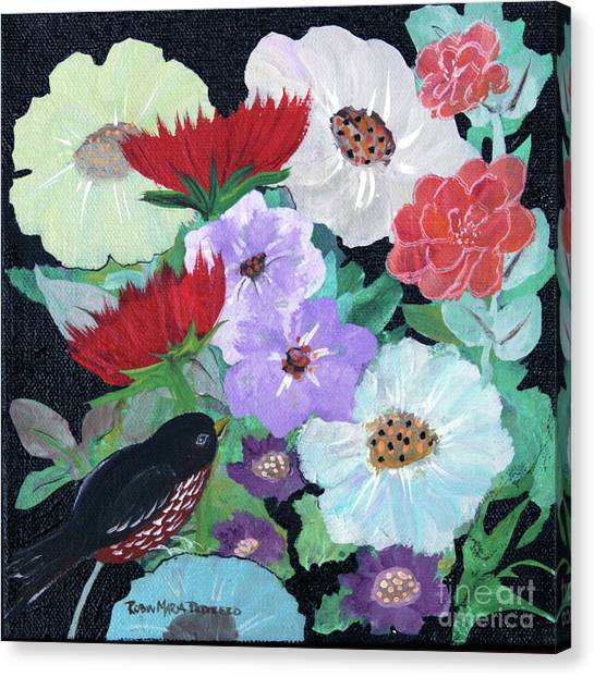 Canvas Print featuring the painting Floweret by Robin Maria Pedrero
