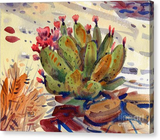Cactus Canvas Print - Flowering Opuntia by Donald Maier