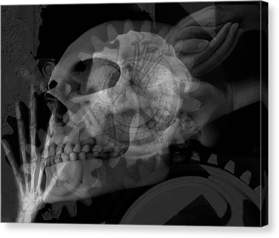Flowering Skull Fossil Rewire Canvas Print by Leigh Odom