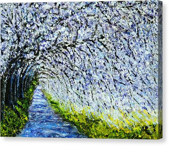 Flowering Tree Lane Canvas Print