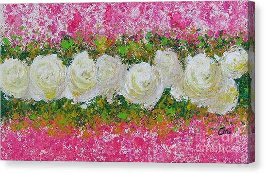 Flowerline In Pink And White Canvas Print