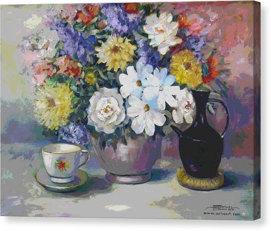 Flowers And Coffee Pot Canvas Print