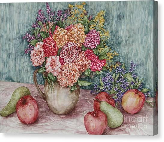 Flowers And Fruit Arrangement Canvas Print
