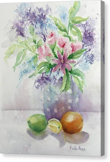 Flowers And Fruit Canvas Print by Bobbi Price