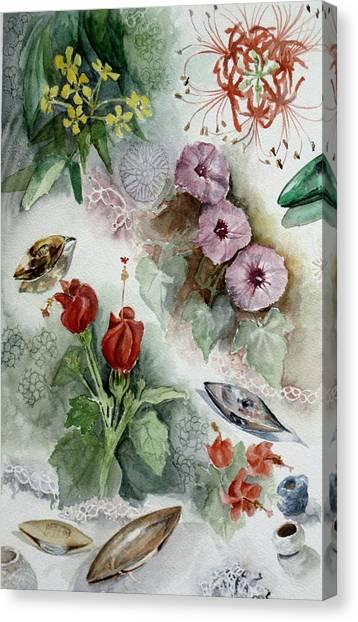 Flowers And Lace Canvas Print by Karen Boudreaux
