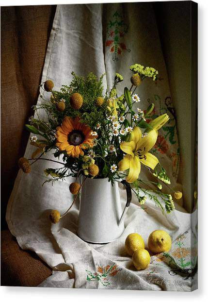 Flowers And Lemons Canvas Print
