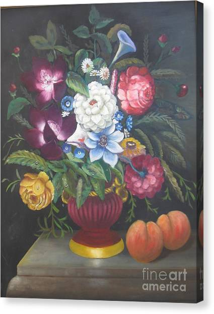 Flowers And Two Peaches Canvas Print