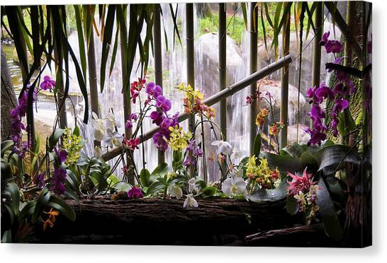 Flowers And Waterfall Canvas Print