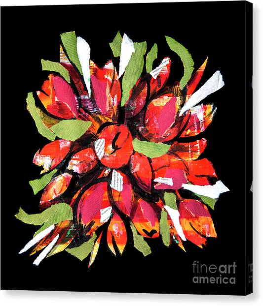 Flowers, Art Collage Canvas Print