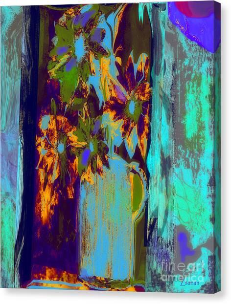 Flowers Beneath A Bleeding Sun Canvas Print