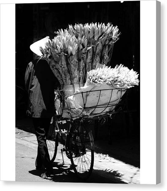 Vietnamese Canvas Print - Flowers. #blackandwhite by Jesper Staunstrup