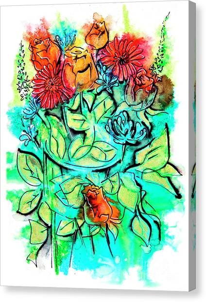 Flowers Bouquet, Illustration Canvas Print
