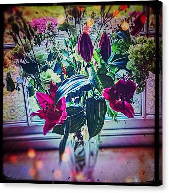 Ivory Canvas Print - #flowers #floral #display #birthday by Sam Stratton