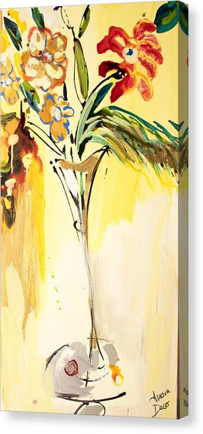Flowers Flowing In Yellow Canvas Print