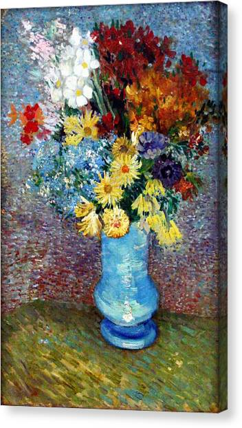Canvas Print featuring the painting Flowers In A Blue Vase  by Van Gogh