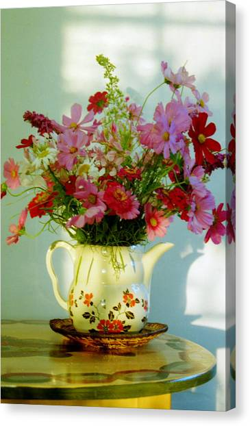 Flowers In A Teapot Canvas Print