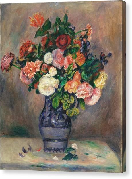 Wedding Bouquet Canvas Print - Flowers In A Vase, 1880 by Auguste Renoir