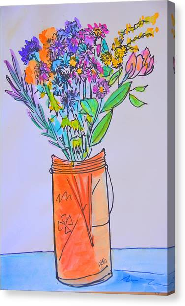 Flowers In An Orange Mason Jar Canvas Print