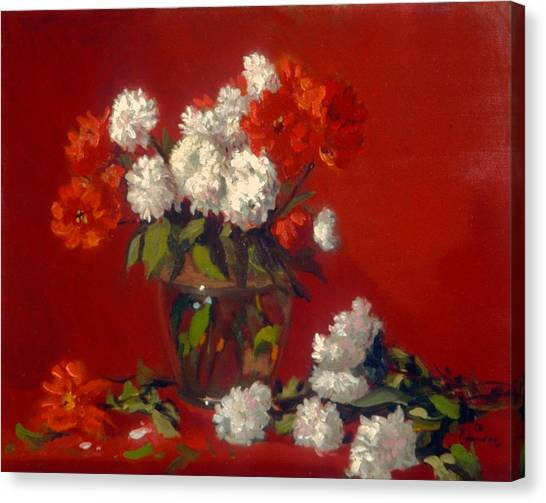 Flowers In Clear Vase    Red Background Canvas Print by David Olander