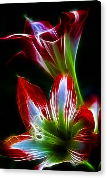 Flowers In Green And Red Canvas Print