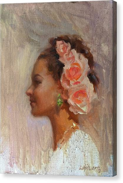 Updo Canvas Print - Pretty Flowers - Impressionistic Portrait Of Young Woman by Karen Whitworth
