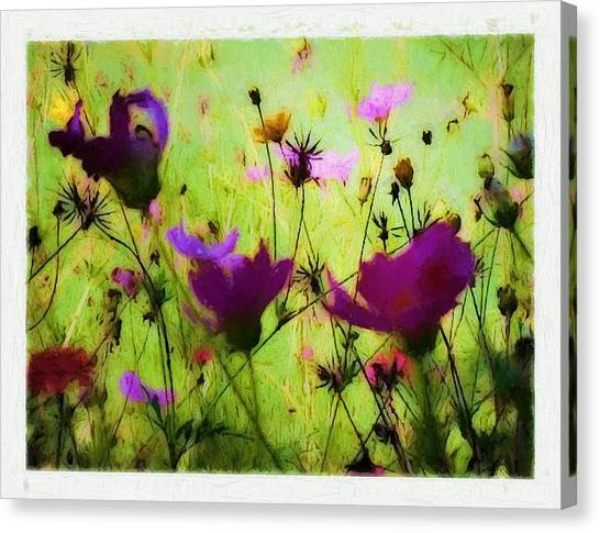 Border Wall Canvas Print - Flowers In Oil Painting by Debra Lynch