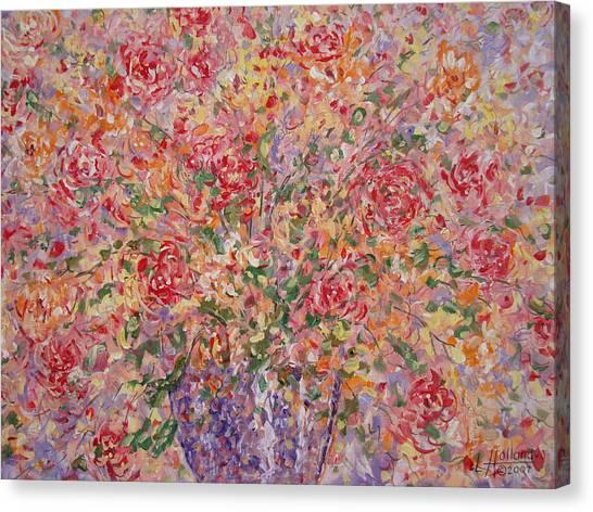 Flowers In Purple Vase. Canvas Print