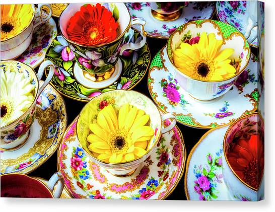 Saucer Canvas Print - Flowers In Tea Cups by Garry Gay