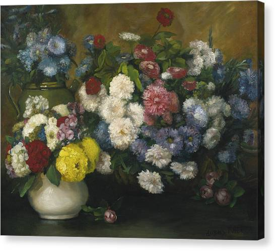 Divisionism Canvas Print - Flowers In Three Vases by Albert Dubois-Pillet
