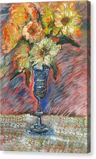 Flowers In Wine Glass Canvas Print