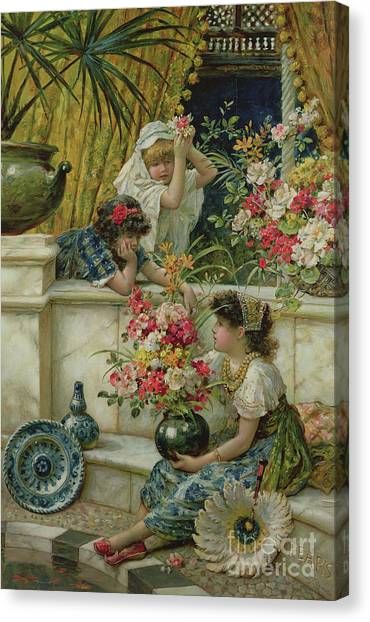 Victorian Garden Canvas Print - Flowers Of The East by William Stephen Coleman