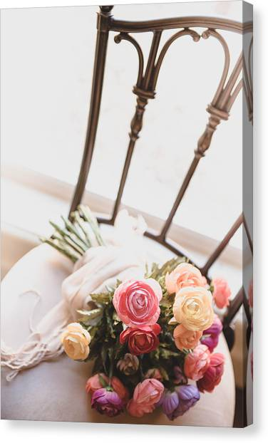Wedding Bouquet Canvas Print - Flowers On Chair by Rebecca Cozart