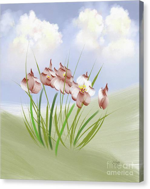 Rolling Hills Canvas Print - Flowers On The Hillside by Lois Bryan