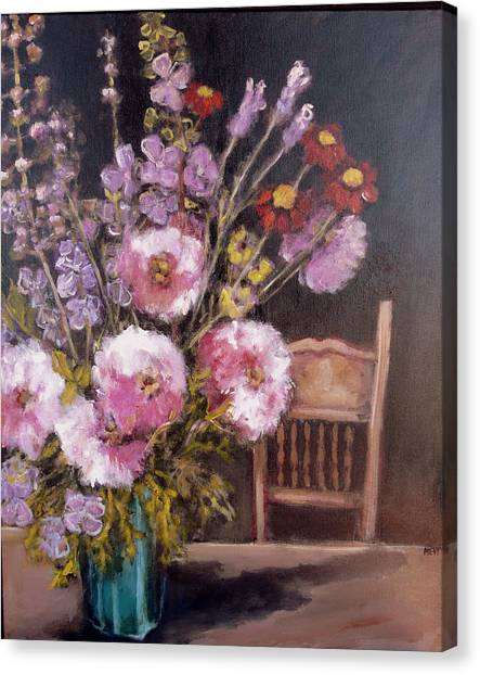 Flowers On The Kitchen Table Canvas Print by Juliet Mevi