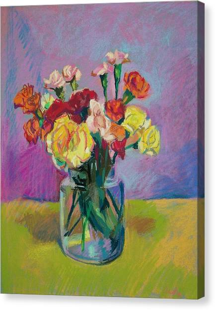 Pickle Jar Of Flowers Canvas Print by Aletha Kuschan