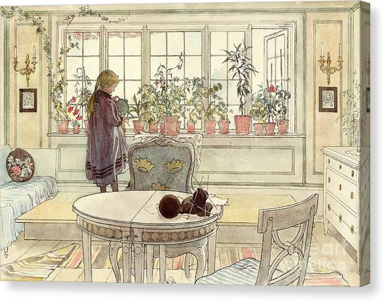 Child Drawing Canvas Print - Flowers On The Windowsill by Carl Larsson