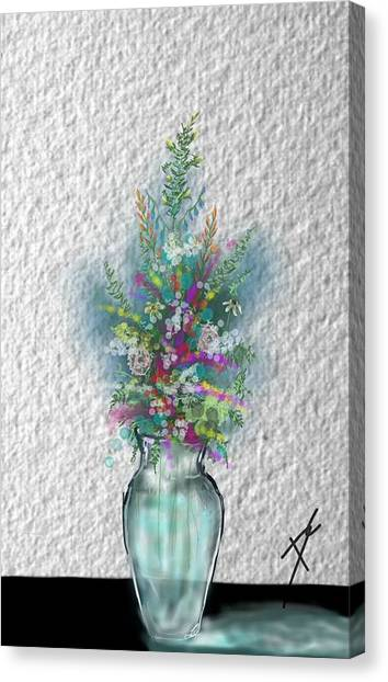 Canvas Print featuring the digital art Flowers Study Two by Darren Cannell