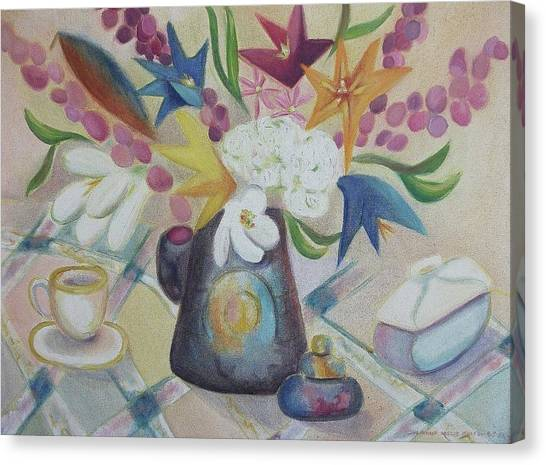 flowers Tin Vase and Tea Cup  Canvas Print by Suzanne  Marie Leclair