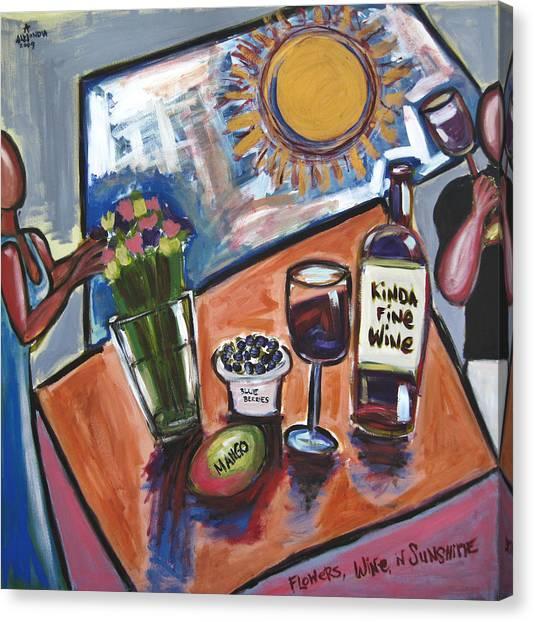 Flowers Wine N Sunshine Canvas Print by Albert Almondia