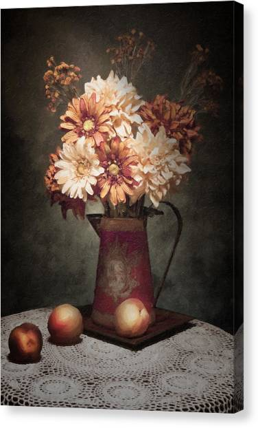Old Pitcher Canvas Print - Flowers With Peaches Still Life by Tom Mc Nemar