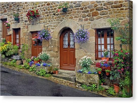 Flowery Doorways In Brittany Canvas Print