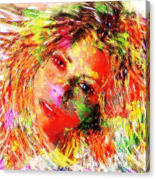 Shakira Canvas Print - Flowery Shakira by Navo Art