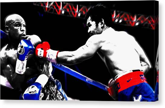 Manny Pacquiao Canvas Print - Floyd Mayweather Against Manny Pacquiao by Brian Reaves