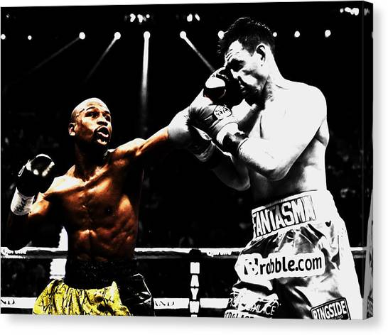 Floyd Mayweather Canvas Print - Floyd Mayweather And Guerrero by Brian Reaves
