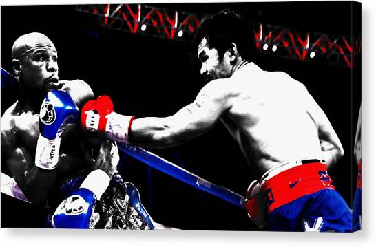 Manny Pacquiao Canvas Print - Floyd Mayweather And Manny Pacquiao by Brian Reaves