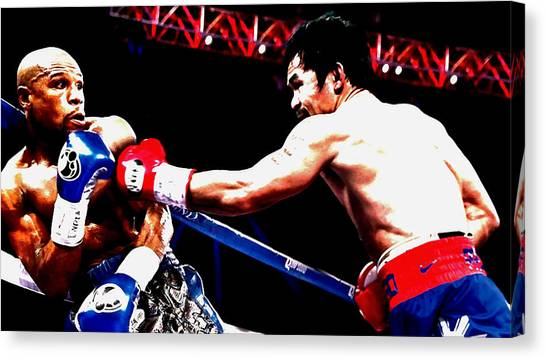 Manny Pacquiao Canvas Print - Floyd Mayweather And Manny Pacquiao Going At It by Brian Reaves