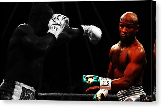 Floyd Mayweather Canvas Print - Floyd Mayweather Ducking And Dodging by Brian Reaves