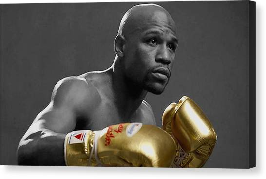 Joe Frazier Canvas Print - Floyd Mayweather Golden Gloves by Brian Reaves