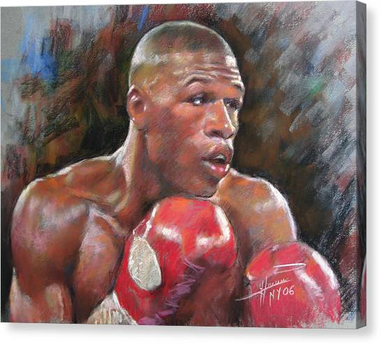 Boxing Canvas Print - Floyd Mayweather Jr by Ylli Haruni