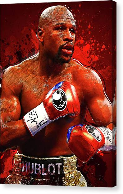Manny Pacquiao Canvas Print - Floyd Mayweather by Semih Yurdabak